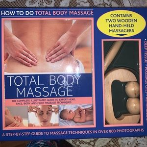 Massage wooden tools and book